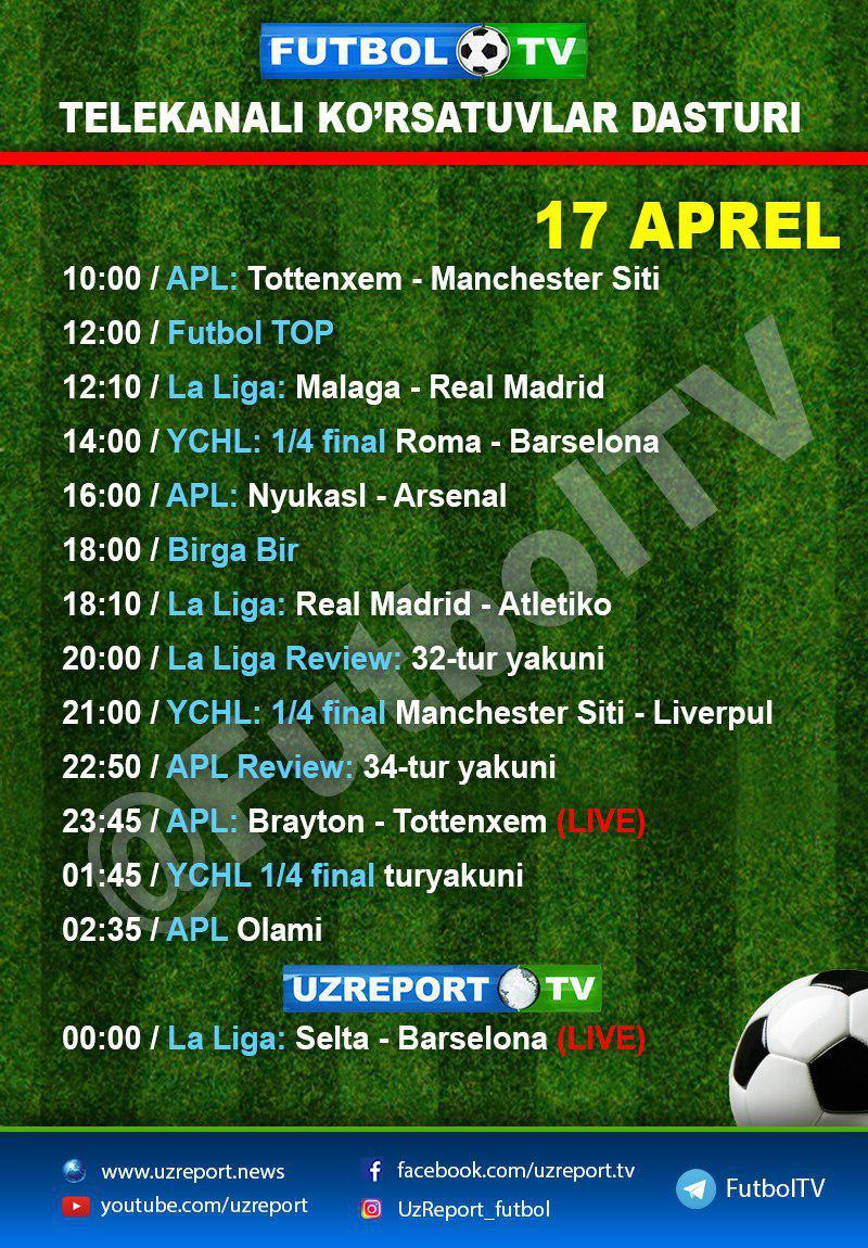 Futbol va Uzreport TV: 17-aprel dasturlari (+ foto)